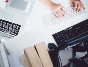 keyboards and a hand - resume writing business