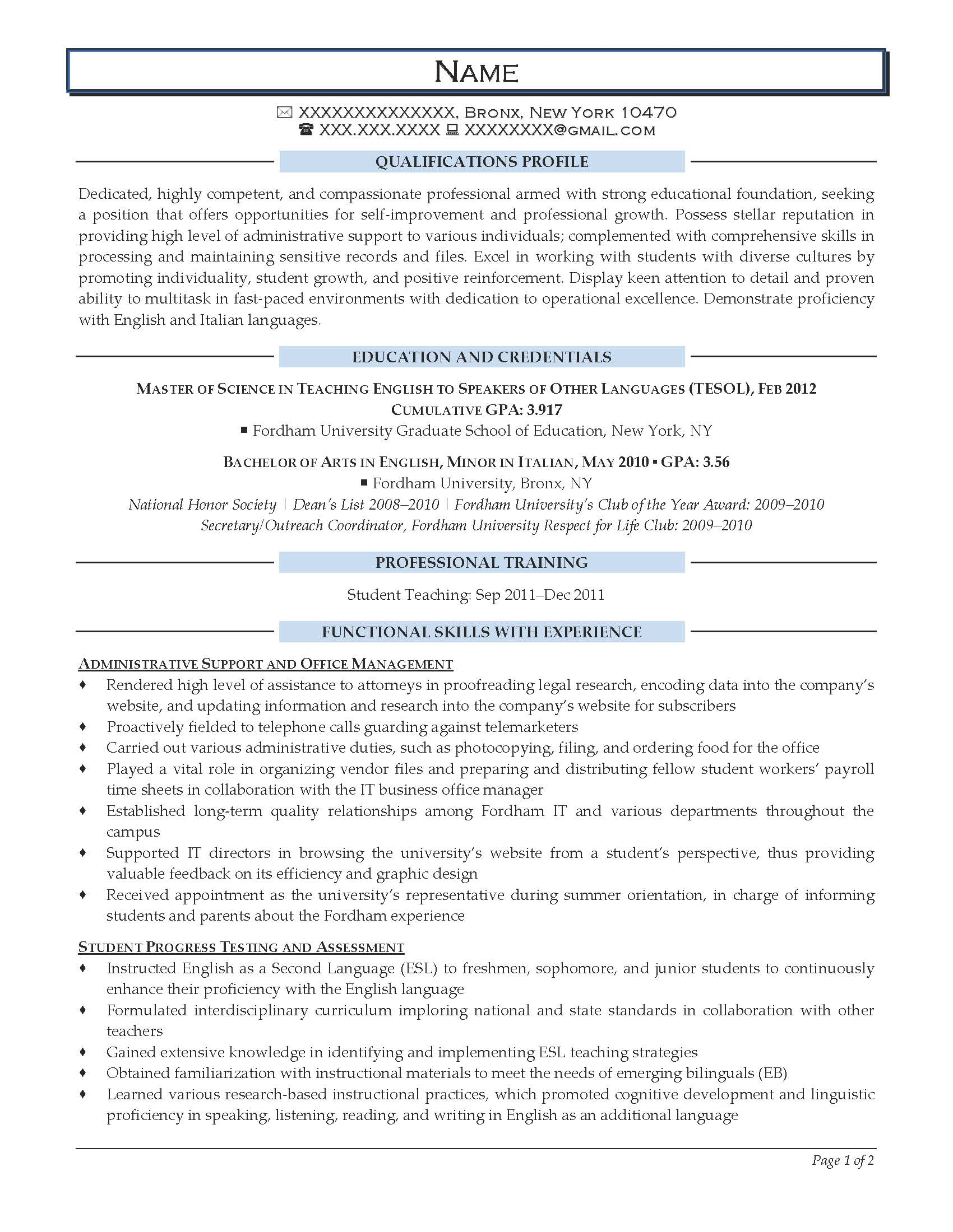 Entry Level English Teacher Resume Sample - After-1