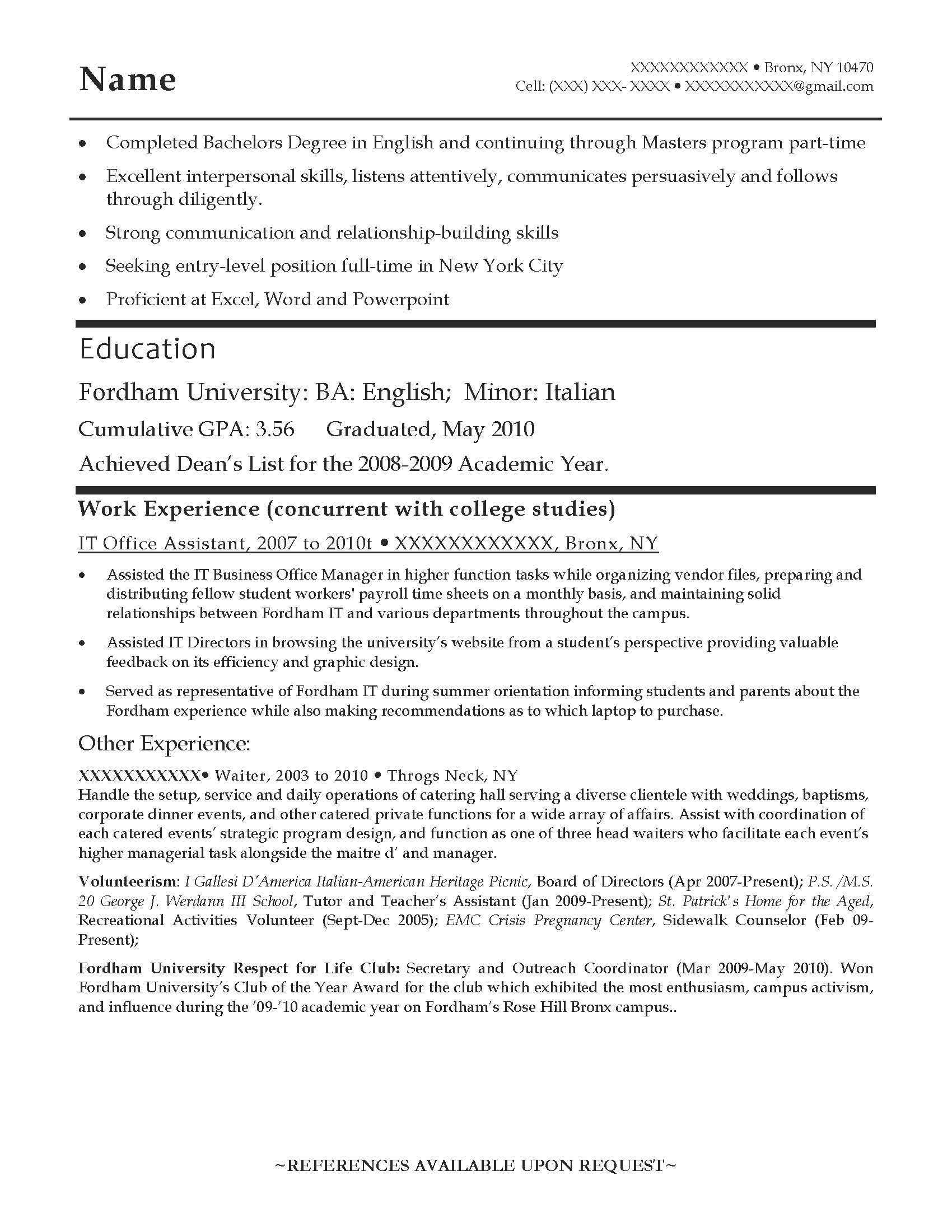 entry level english teacher resume sample before 1