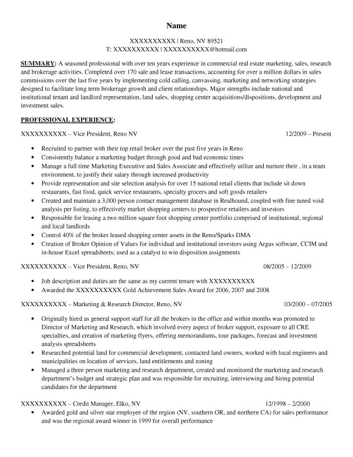 commercial real estate portfolio manager resume sample before 1