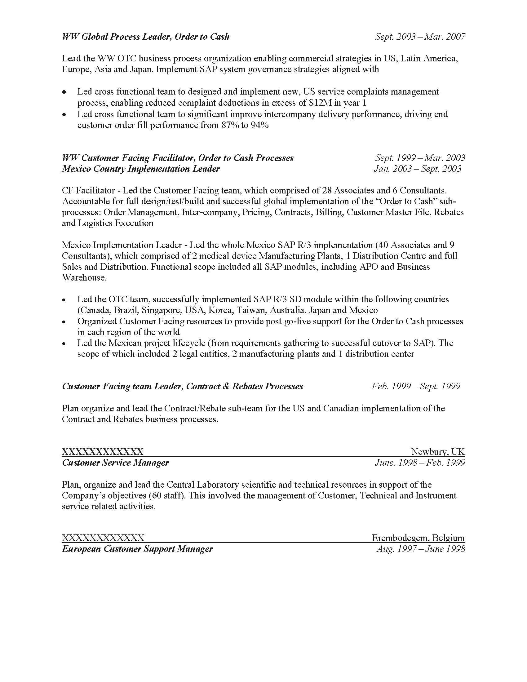 Business Process Leader Resume Sample