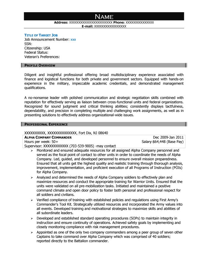 Alpha Company Commander Resume Sample   After 1  Sample Federal Resume