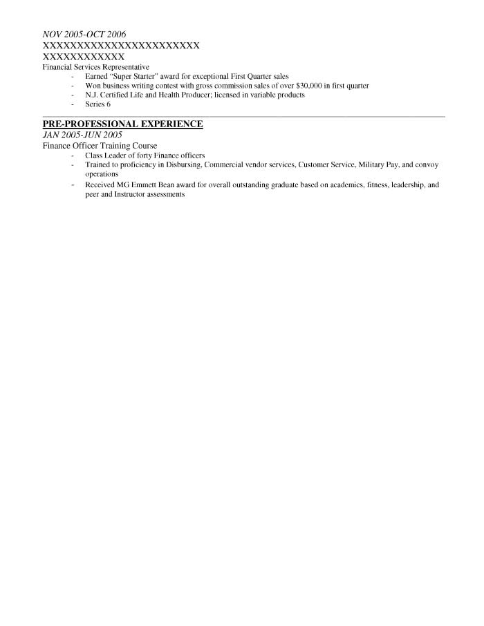 Alpha Company Commander Resume Sample - Before-2