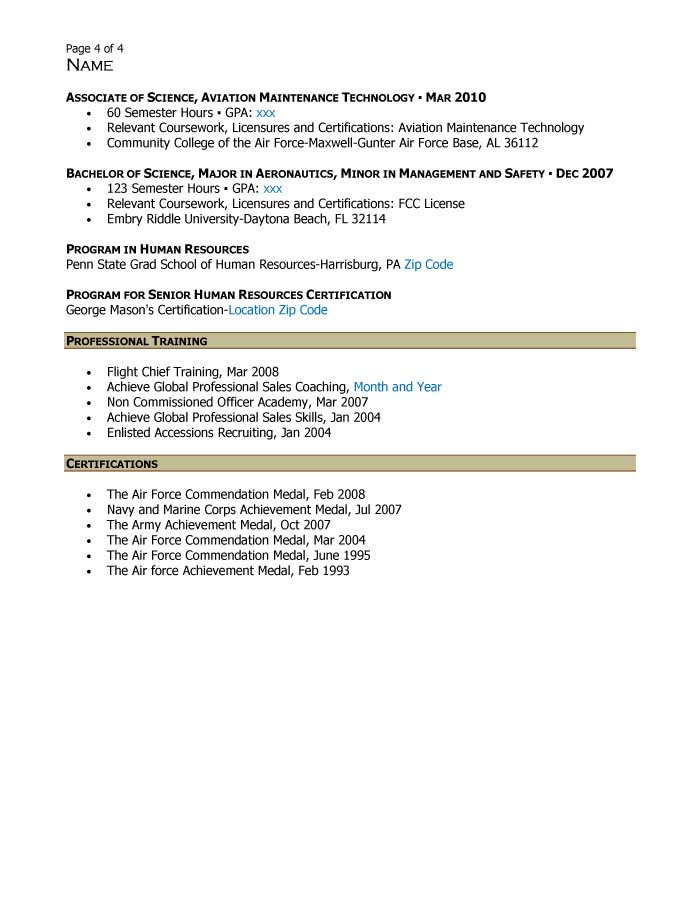 Supervisory Human Resources Specialist Resume Sample - After-4