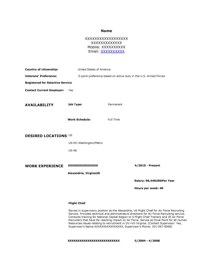 Supervisory Human Resources Specialist Resume Sample - Before-1