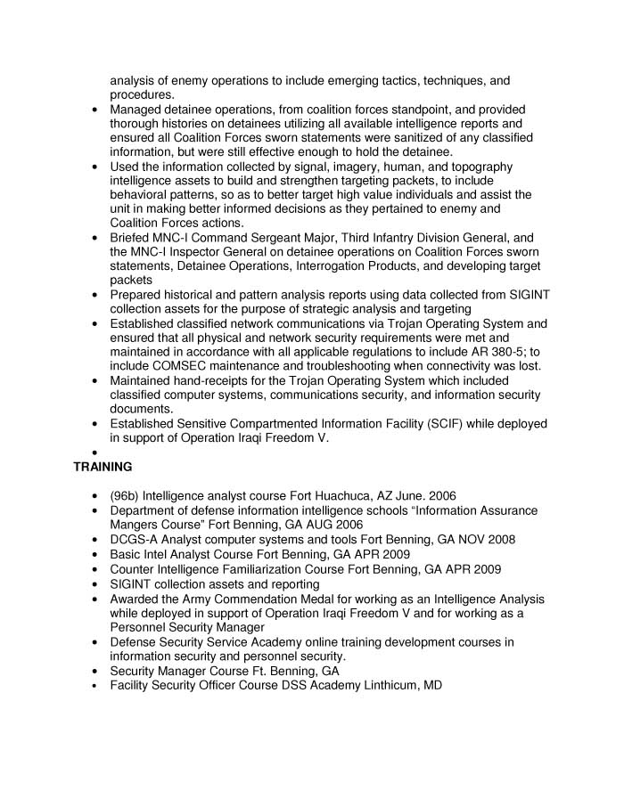 Intelligence Specialist (I&TS) or Intel Spec (S&T) Resume Sample - Before-3