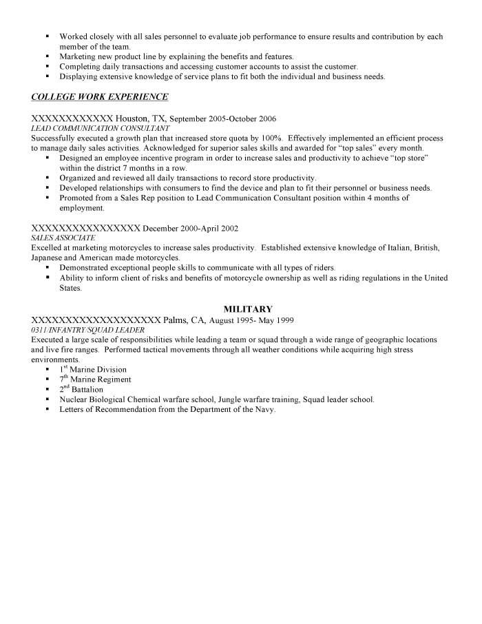 Infantry/Squad Leader Resume Sample - Before-2