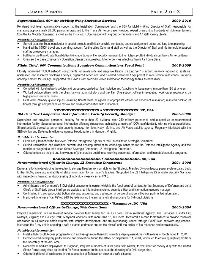Communications Squadron Security Manager Resume Sample - After-2