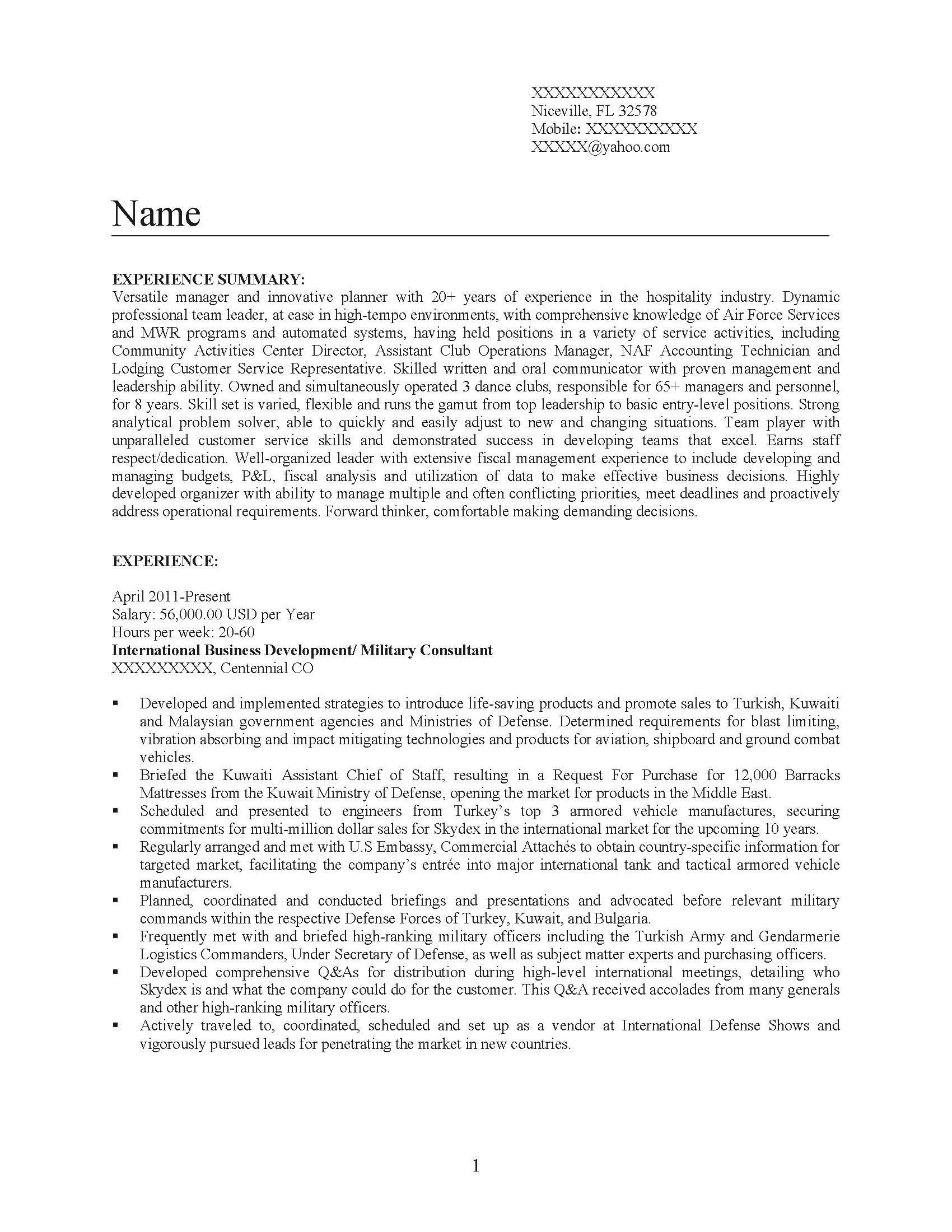 Senior Management Professional Resume Sample - Before-1