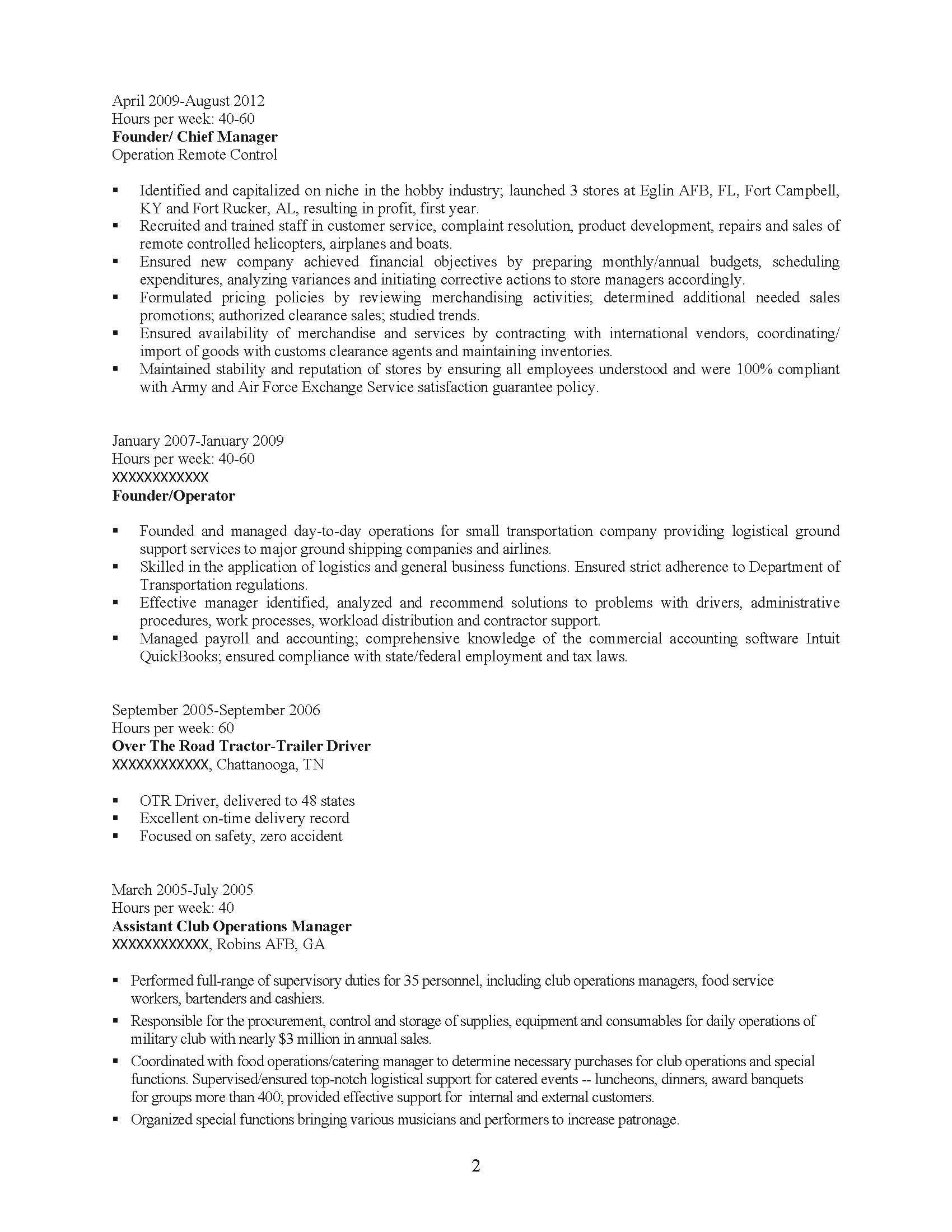 Senior Management Professional Resume Sample - Before-2