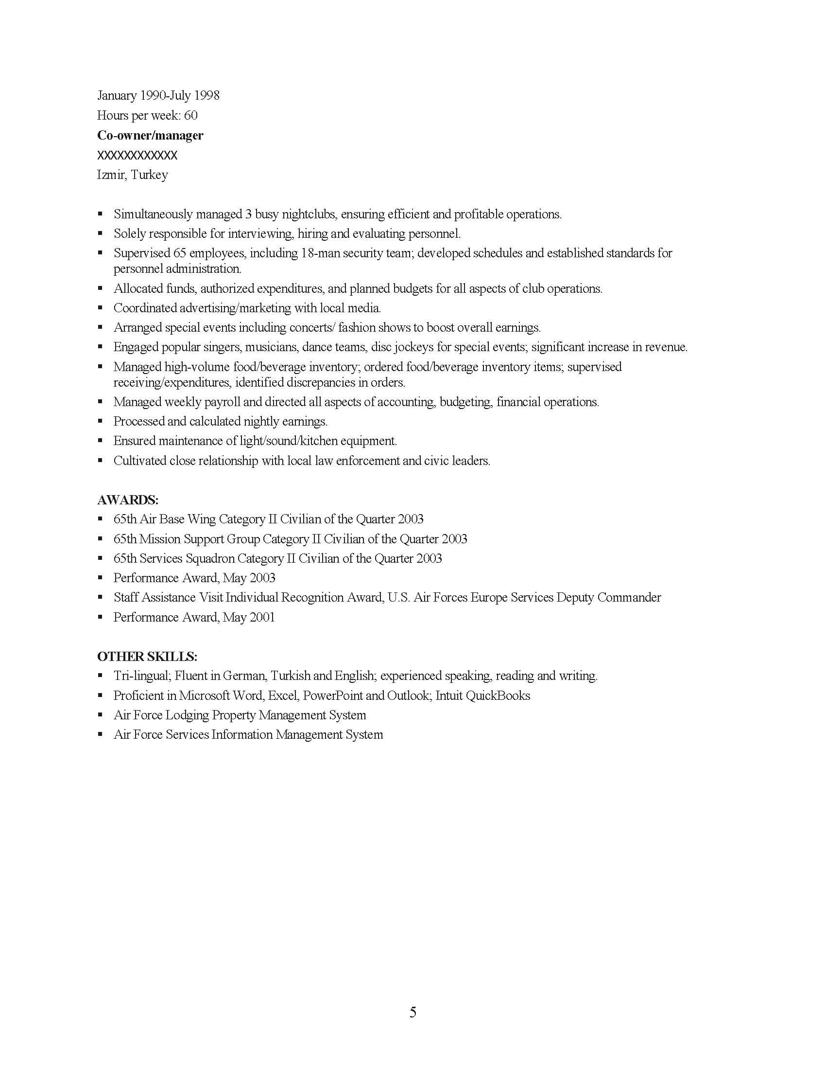 Senior Management Professional Resume Sample - Before-5