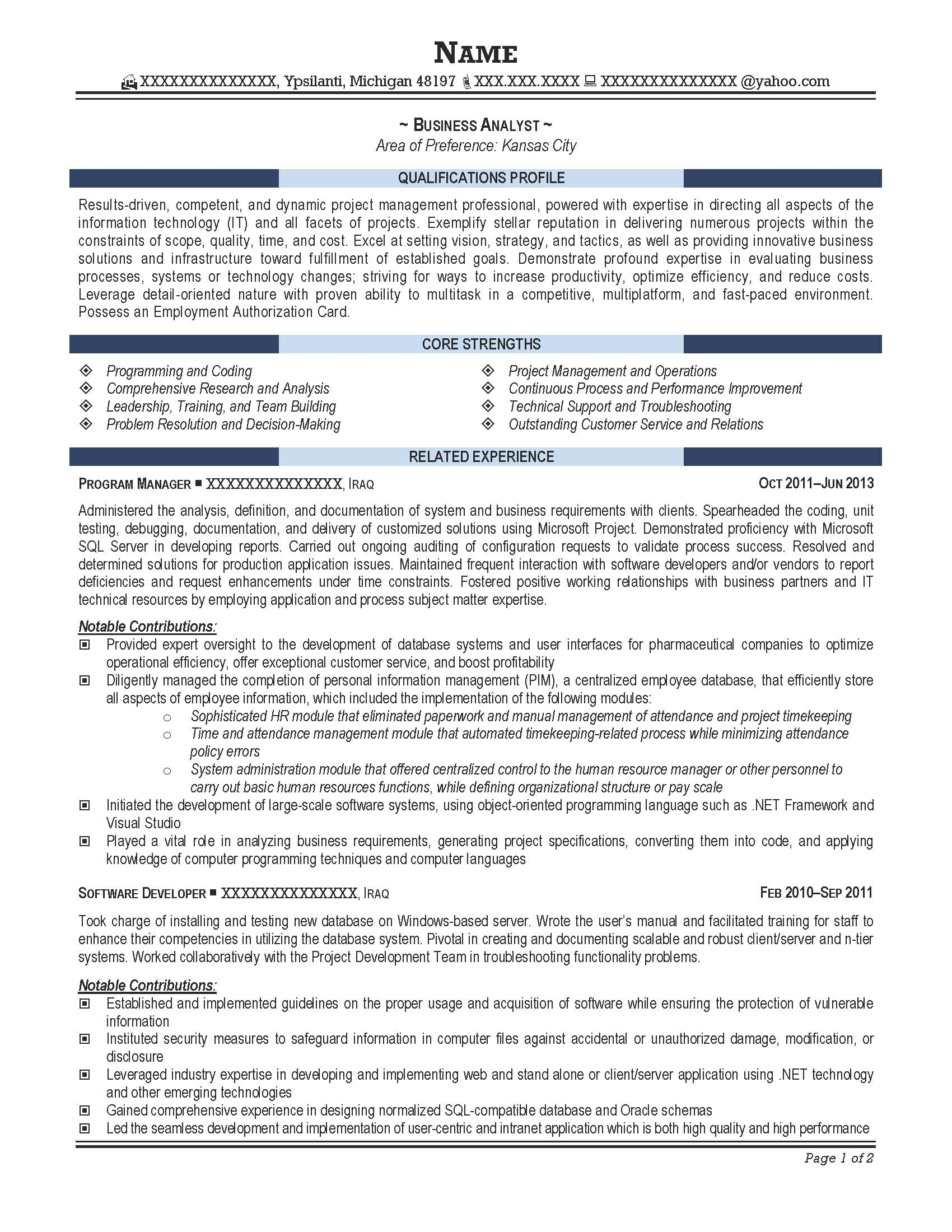 business analyst resume sample after 1 sample of business analyst resume - Professional Business Resume Template