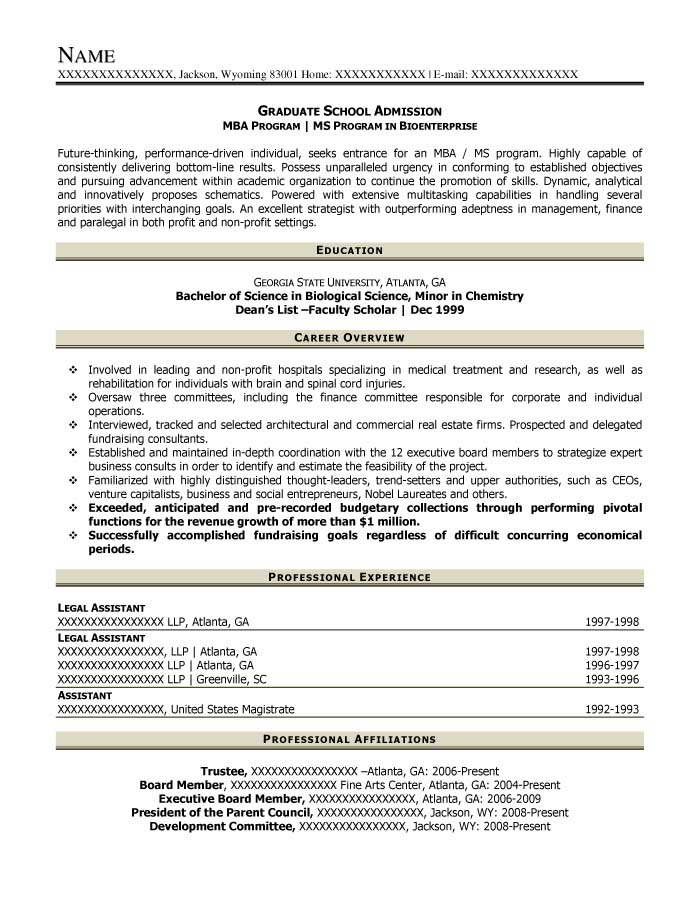 Graduate School Admission Resume Sample   After  Mba Application Resume Sample