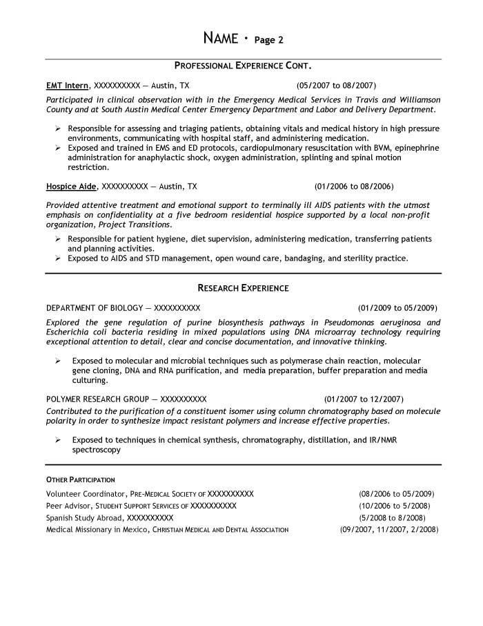 medical internship resume