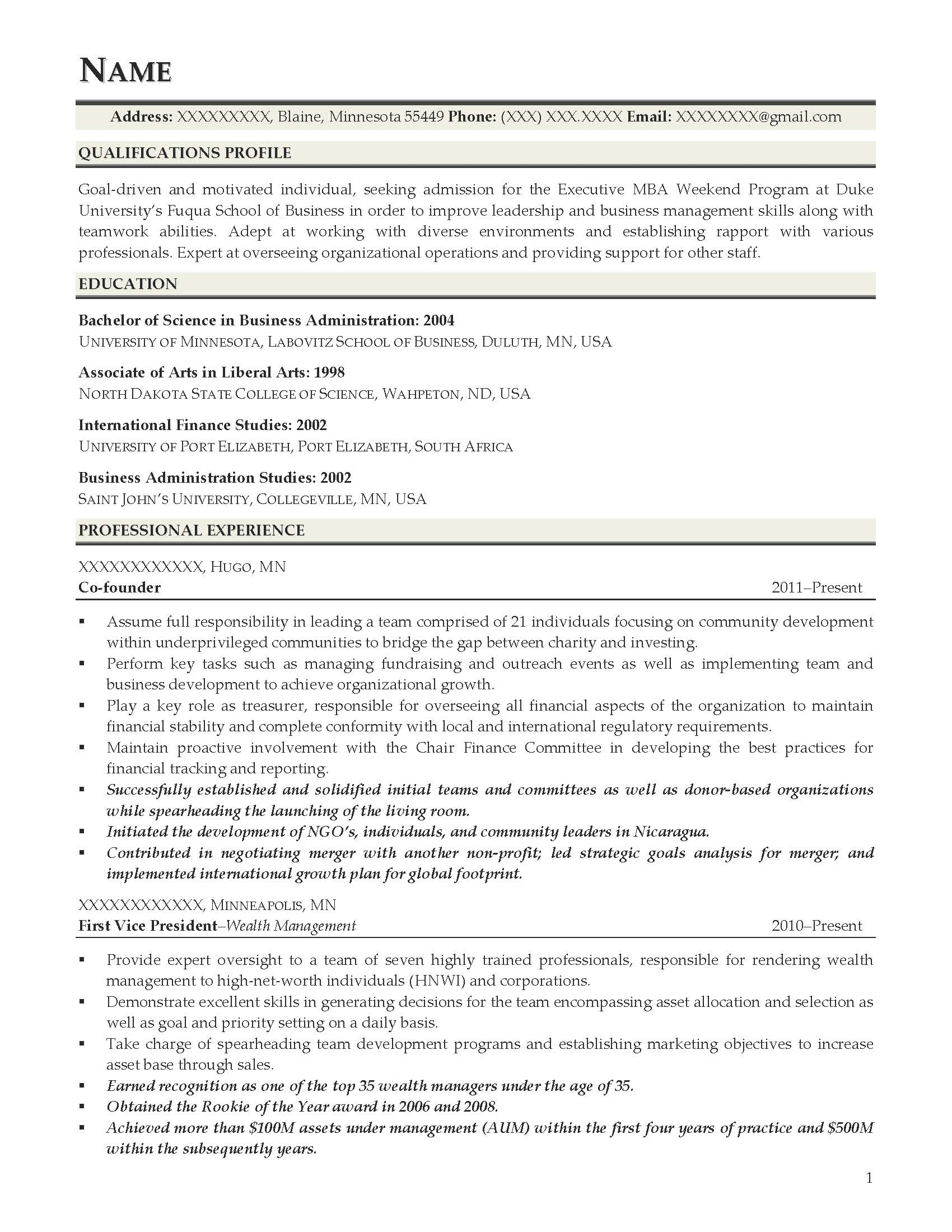 Executive MBA Weekend Program Resume Sample   After 1  Mba Application Resume Sample