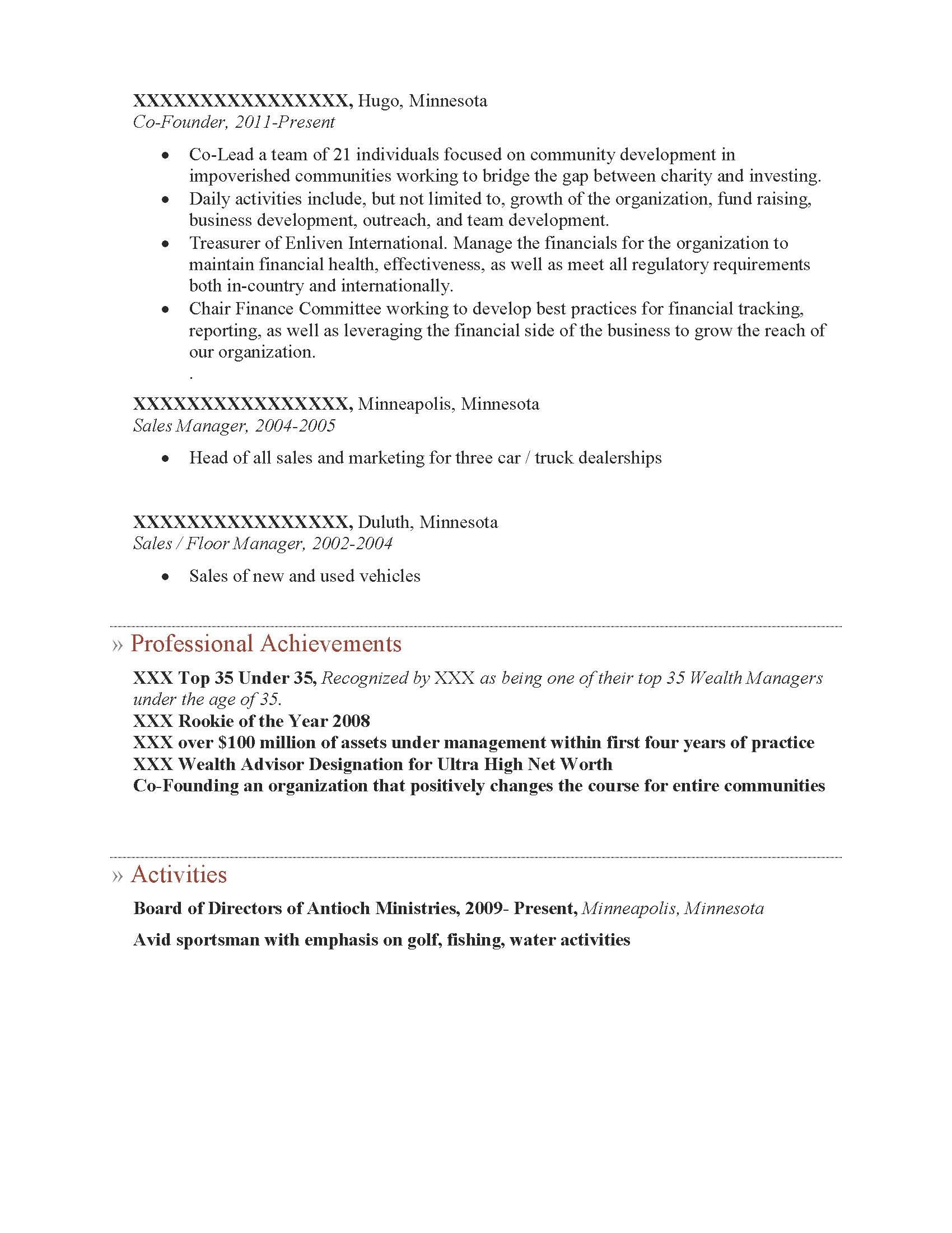Executive MBA Weekend Program Resume Sample - Before-2