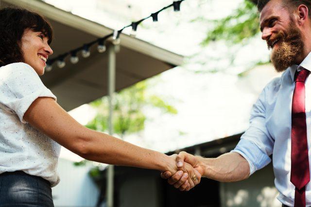 Handshake with interviewer
