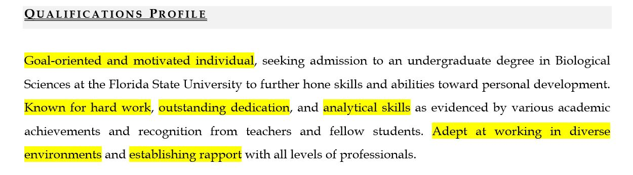 Objective for resume: Sample qualifications profile for entry-level job seekers
