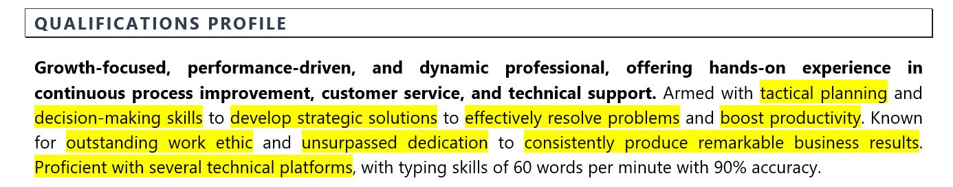 Objective for resume: Sample qualifications profile for mid-level job seekers