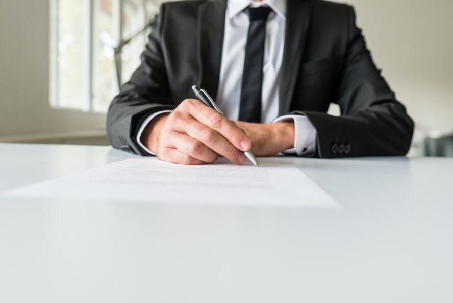 Man writing his professional profile