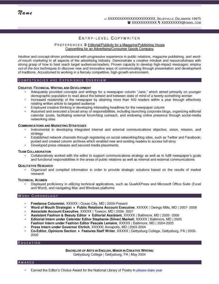 Copy Writer Resume Example - After