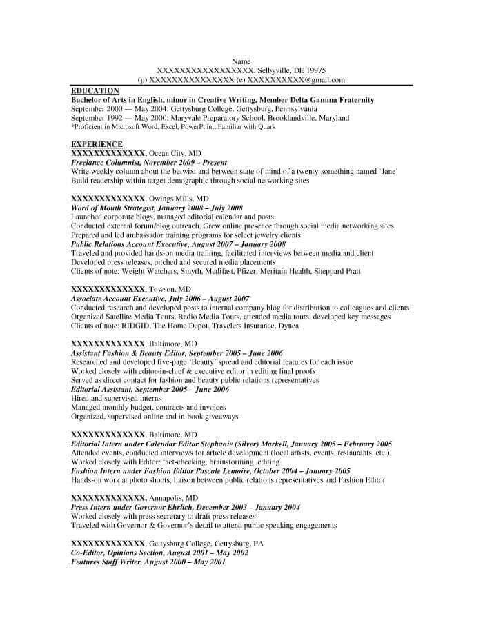 Copy Writer Resume Example - Before