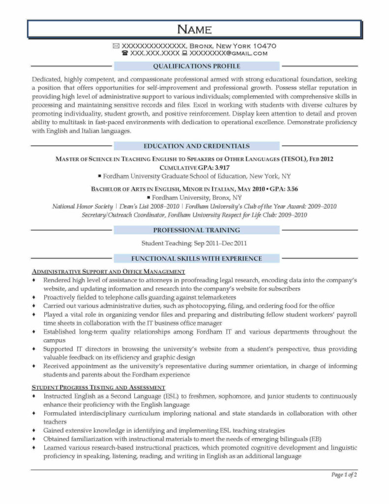 English Teacher Resume Example - After