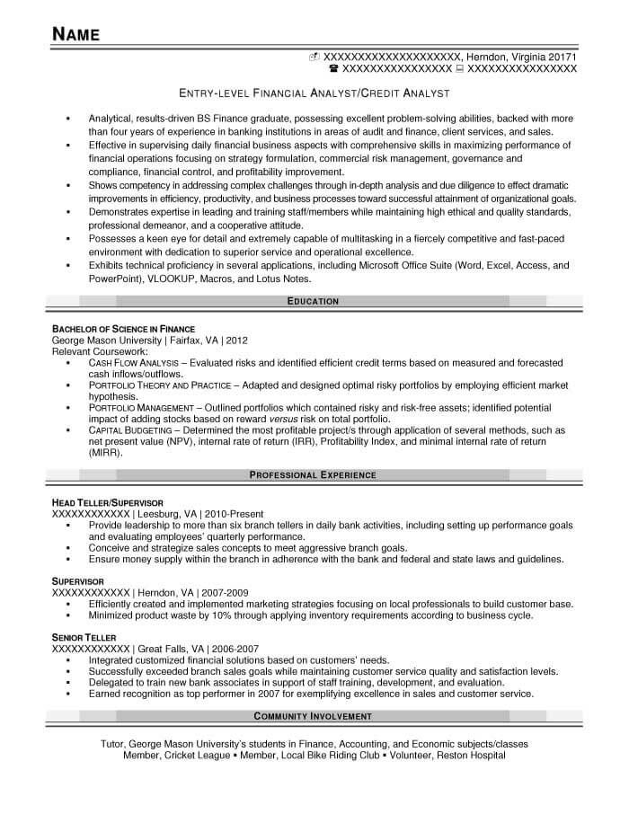 Financial Analyst/Credit Analyst Resume Example - After