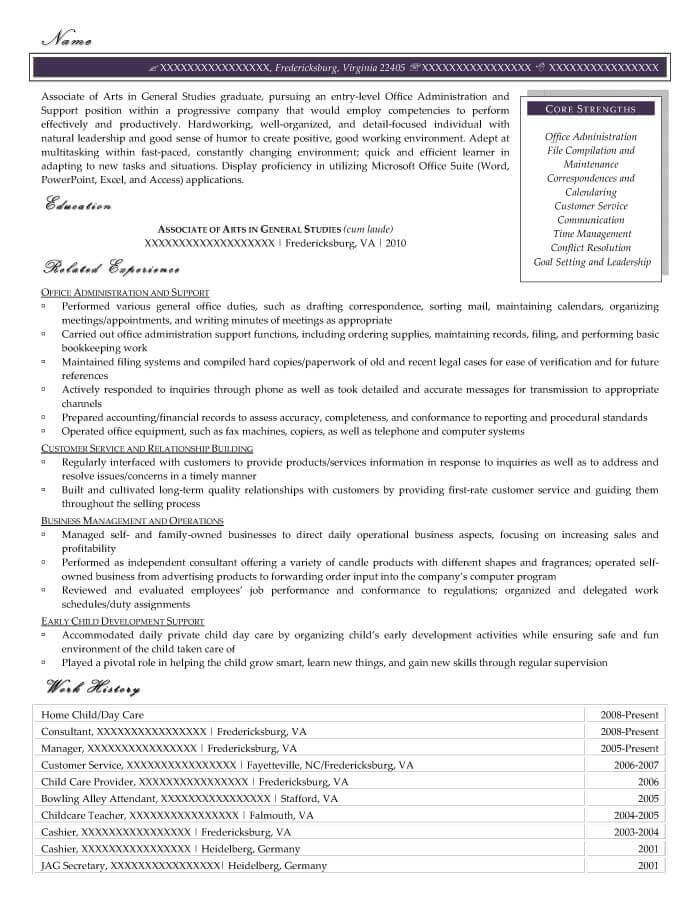 Office Administration Resume Example - After