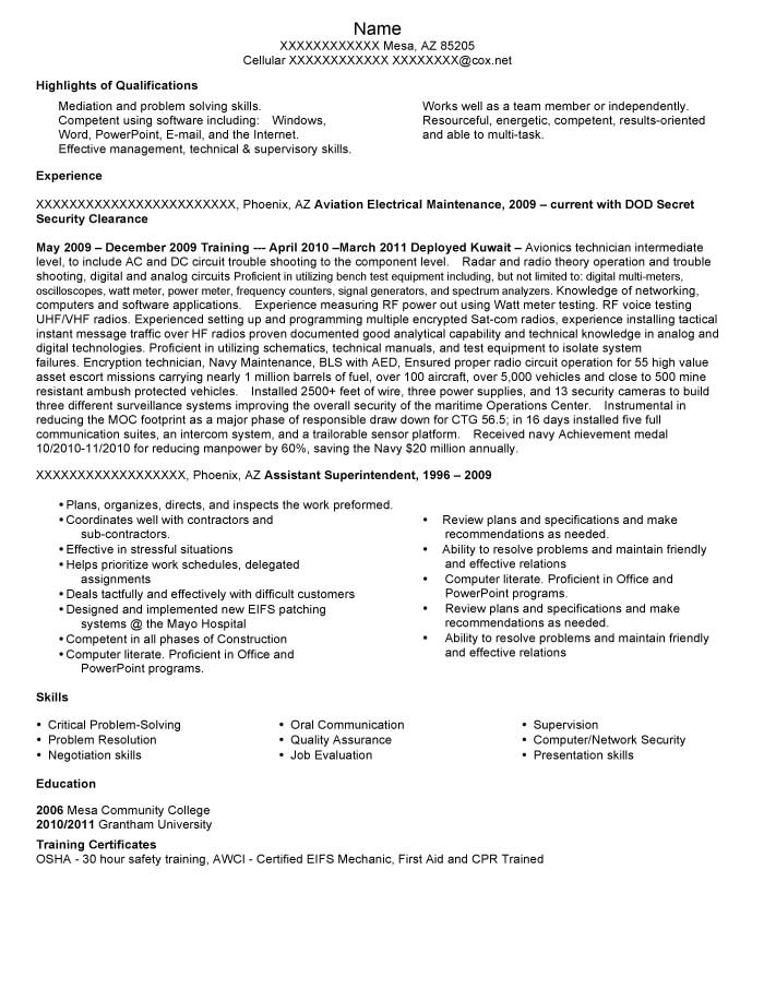 Aviation Electrical Maintenance Personnel, DOD Secret Security Clearance Resume Sample - After