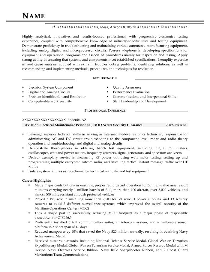 Aviation Electrical Maintenance Personnel, DOD Secret Security Clearance Resume Sample - Before