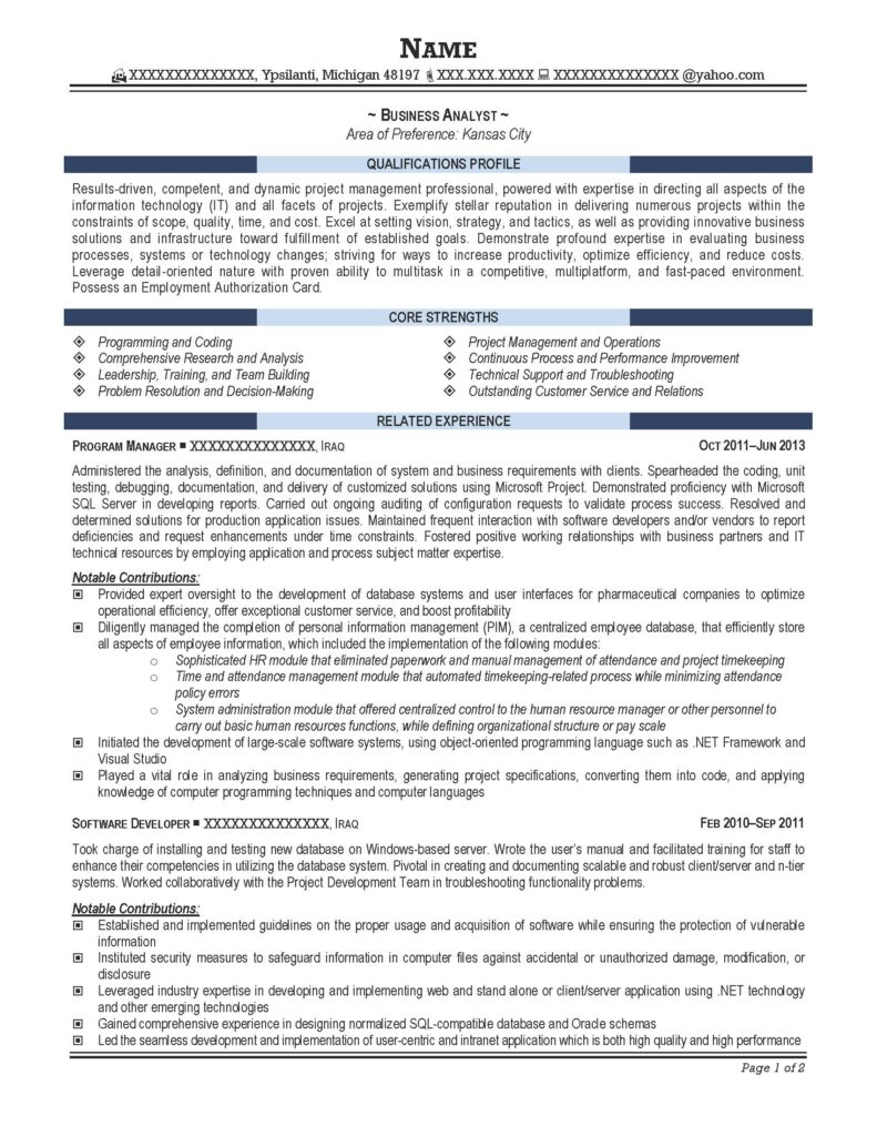 Business Analyst Resume Sample - After