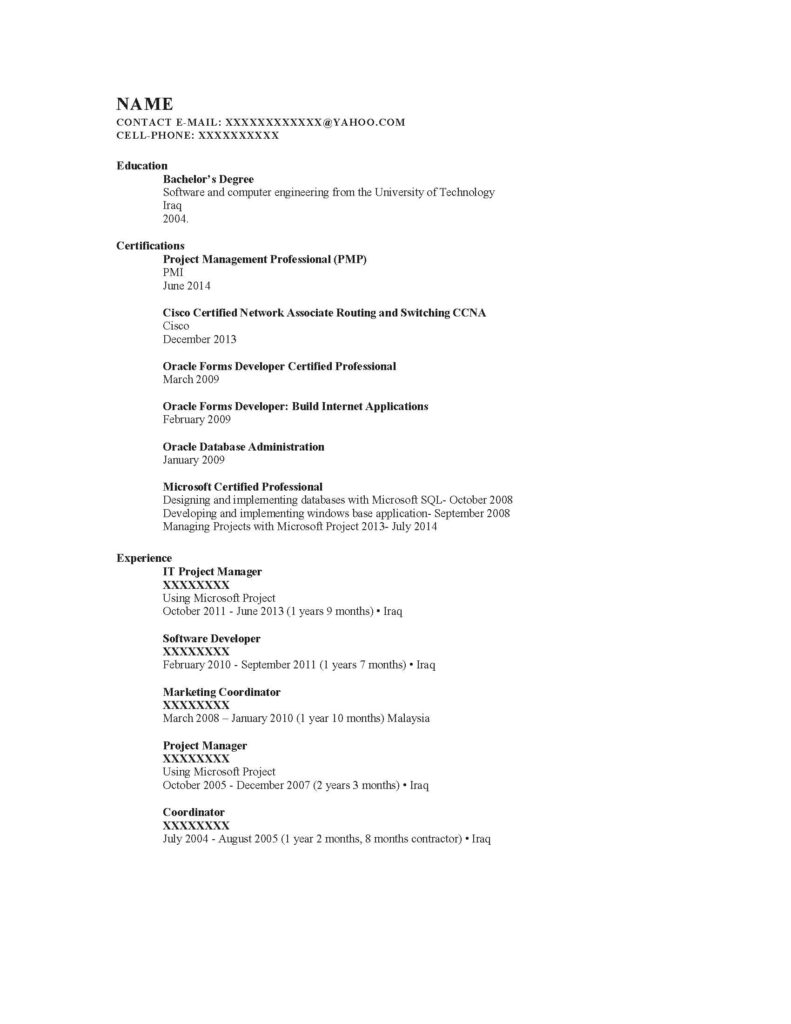 Business Analyst Resume Sample - Before
