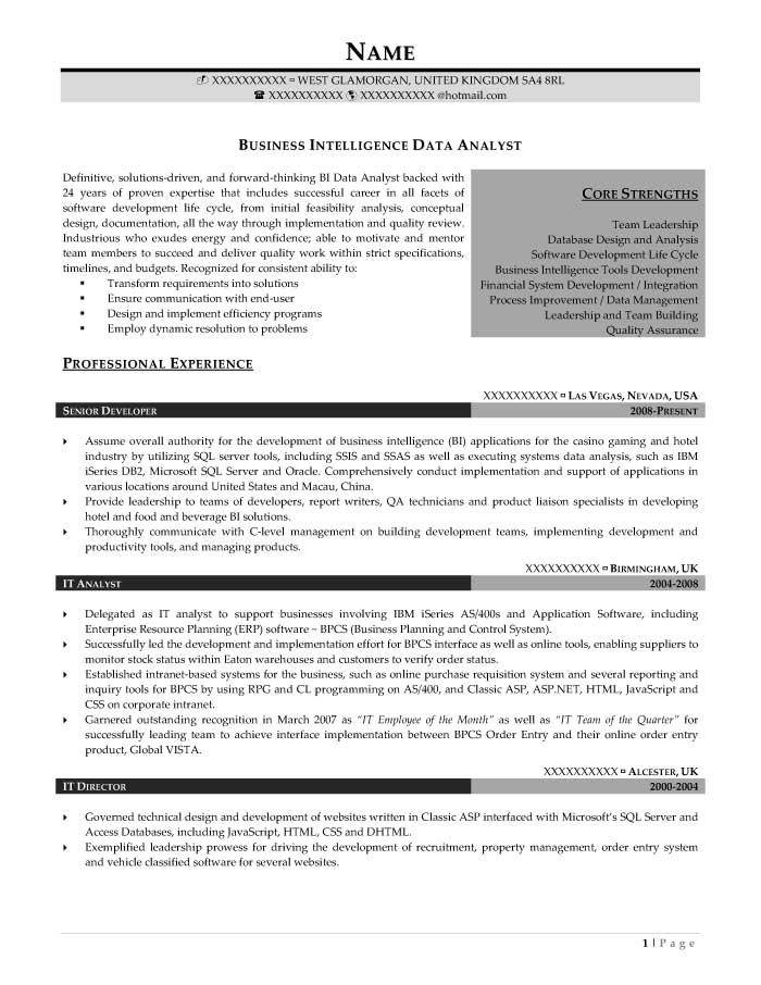 Business Intelligence Data Analyst Resume Sample - After