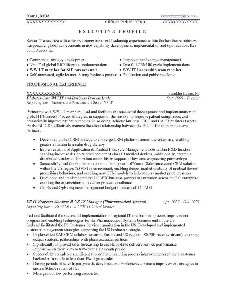 Business Process Leader Resume Sample - Before