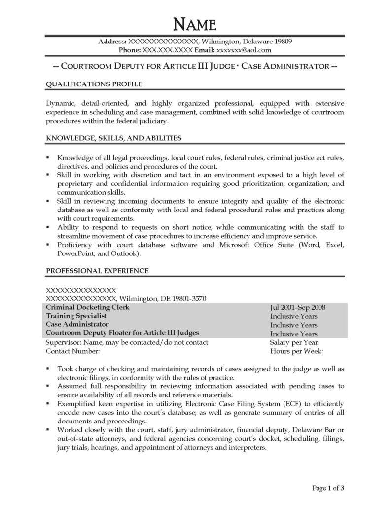 Case Administrator Resume Sample - After