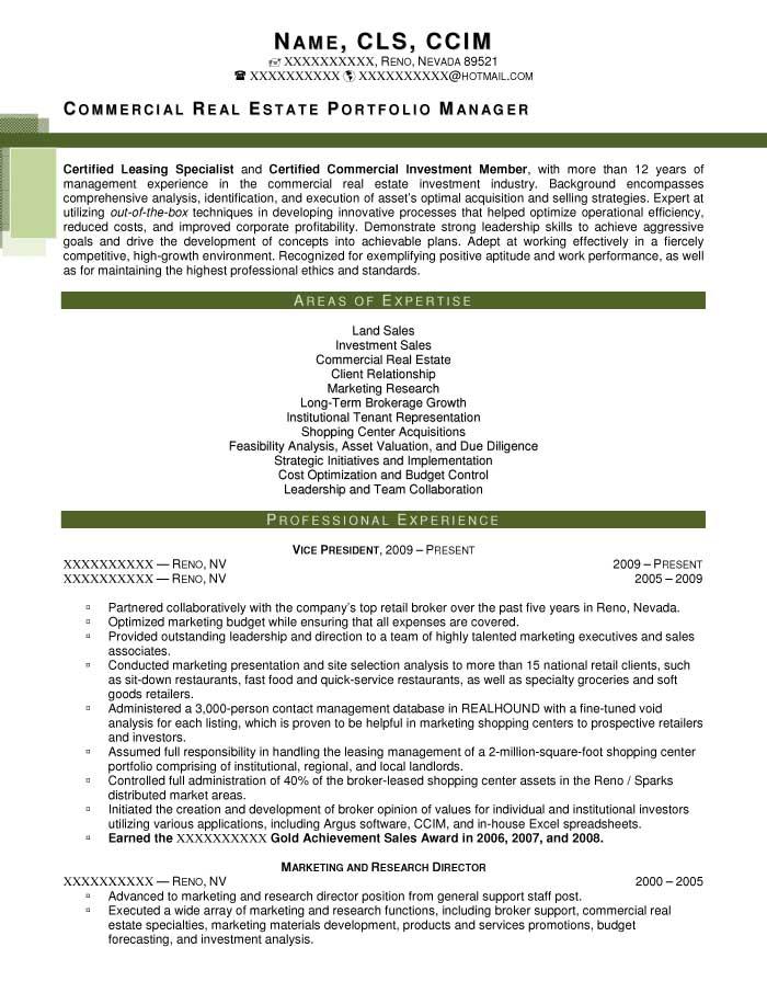 Commercial Real Estate Portfolio Manager Resume Sample - After