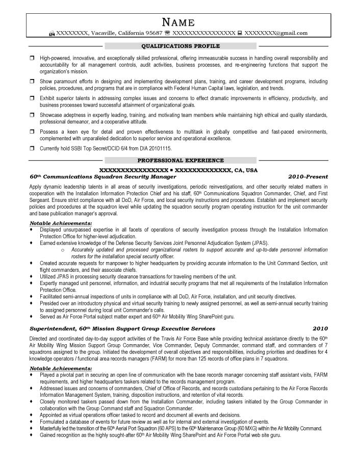 Communications Squadron Security Manager Resume Sample - After