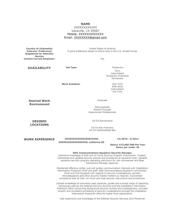 Communications Squadron Security Manager Resume Sample - Before