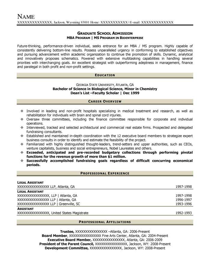 Graduate School Admission Resume Sample - After