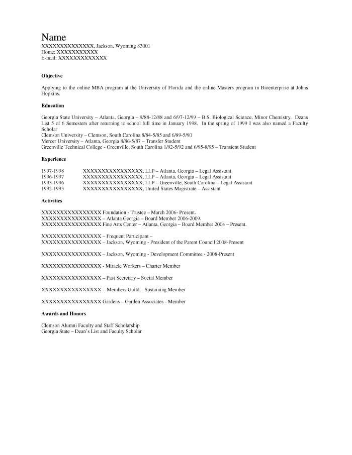 Graduate School Admission Resume Sample - Before