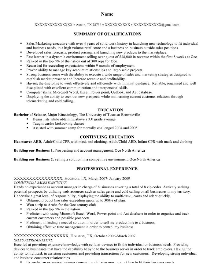 Infantry and Squad Leader Resume Sample - Before