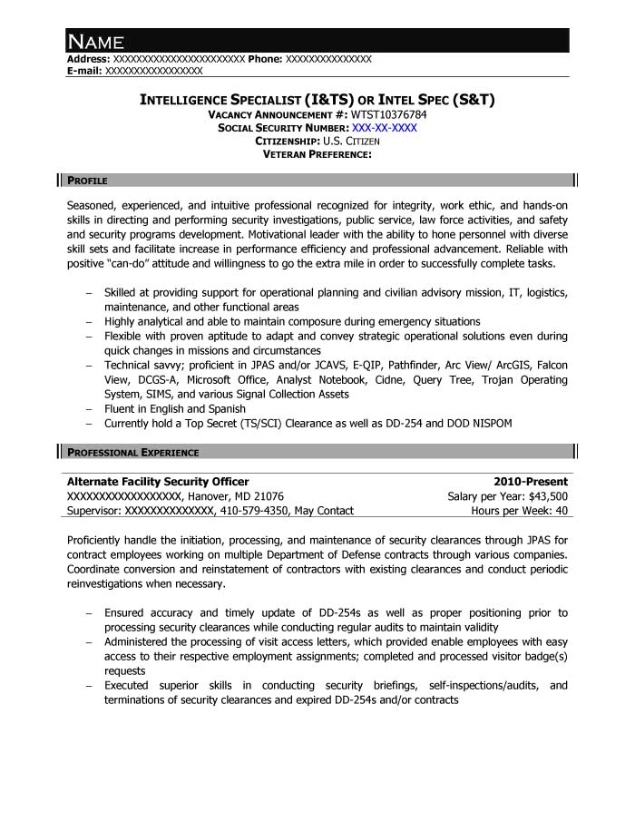 Intelligence Specialist (I&TS) or Intel Spec (S&T) Resume Sample - After