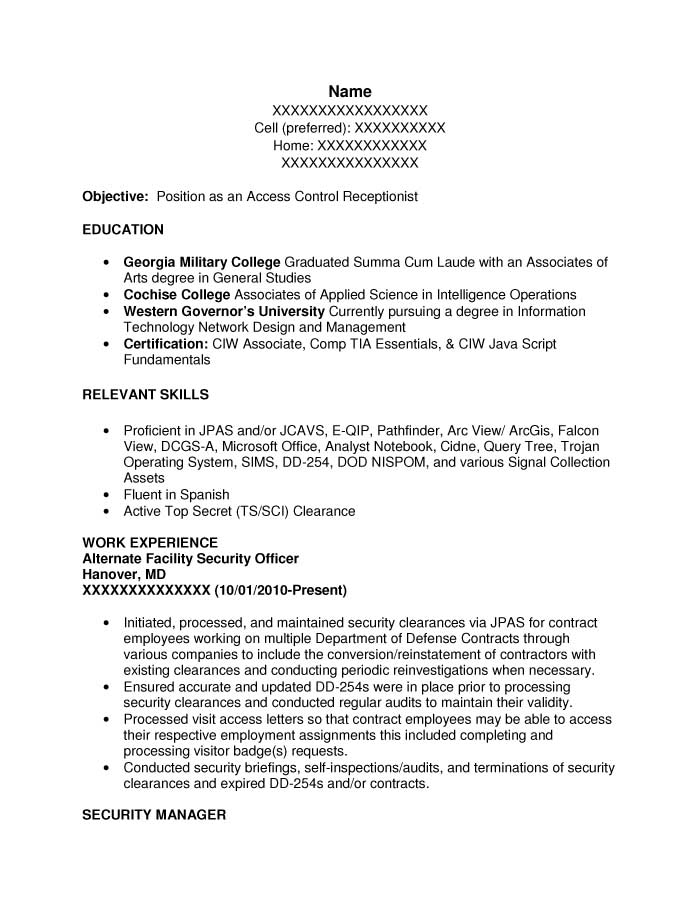 Intelligence Specialist (I&TS) or Intel Spec (S&T) Resume Sample - Before