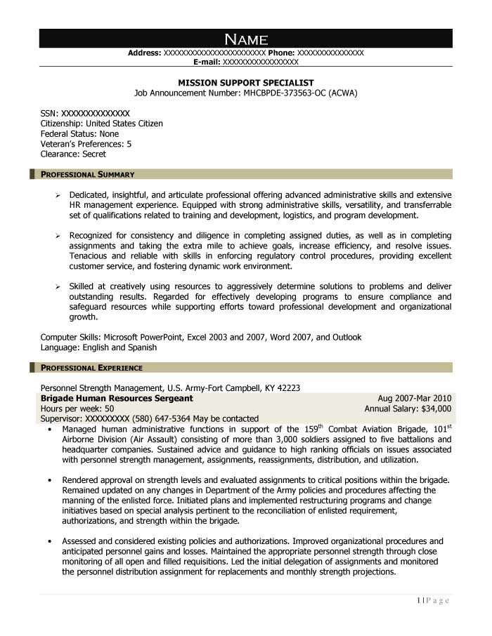 Mission Support Specialist Resume Sample - After