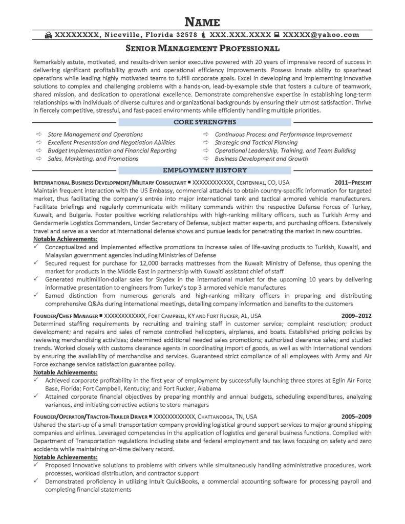 Senior Management Professional Resume Sample - After