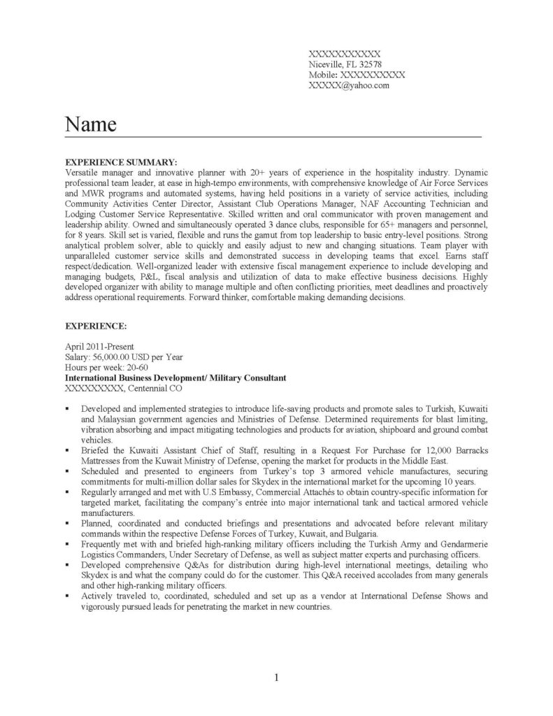 Senior Management Professional Resume Sample- Before
