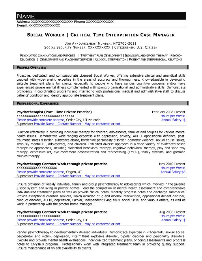 Social Worker and Critical Time Intervention Case Manager Resume Sample - After