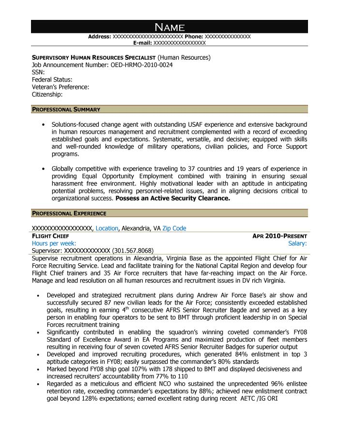 Supervisory Human Resources Specialist Resume Sample After