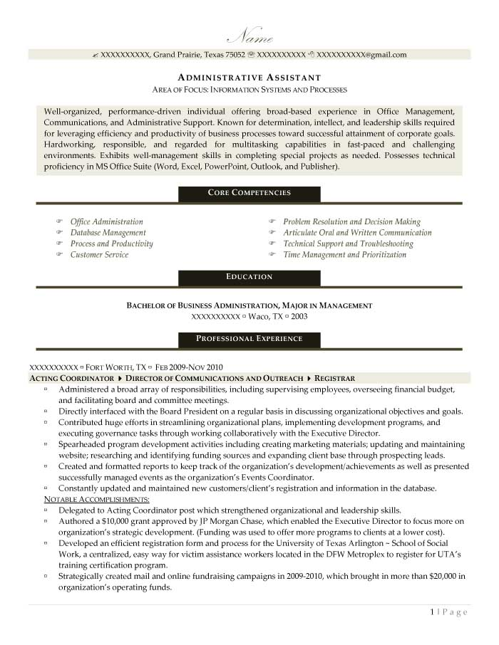Sample of a Resume with Resume Sections